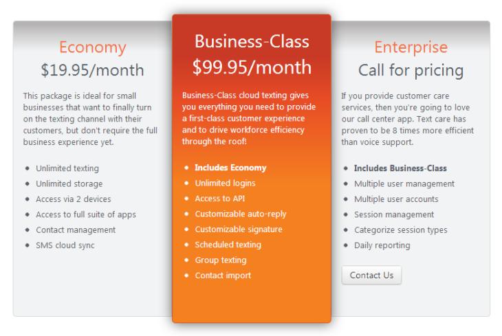biz class pricing