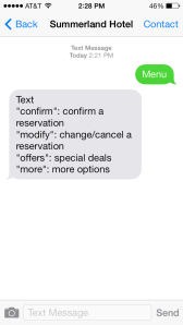 Text confirmation, text reservation, text offers, text promotion, text hospitality